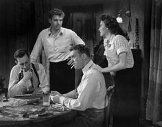 "Vintage iconic figures - Ava Gardner - Burt Lancaster - John Huston - Richard Brooks et Jeff Corey dans ""Les Tueurs / The Killers"" de Robert Siodmak 1946"