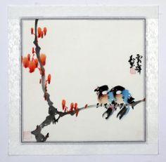 "Chinese Painting Birds Flowers 16x16"" Original Traditional Art Brush Ink Asian | eBay"