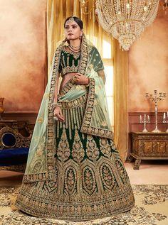 Get Modest Green Fancy Fabric Designer Lehenga Choli latest designer party wear lehenga, wedding wear lehenga choli for women at VJV Fashions. Lehenga Choli Latest, Bridal Lehenga Choli, Sarees, Indian Bridal Wear, Indian Ethnic Wear, Heavy Lehenga, Bridal Lehenga Online, Green Lehenga, Party Wear Lehenga