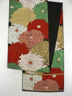 Dark Black Rokkaku Fukuro Obi, Luxury Multiple Color Chrysanthemum Pattern / 黒地 豪奢な多色の菊花文様 六通袋帯  【リサイクル着物・アンティーク着物・帯の専門店 あい山本屋】#Kimono #Japan
