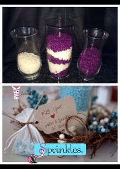 Pink Zebra Sprinkles make great unity candles, center pieces and small gifts. www.soysprinklescents.com