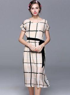 Brief Checkered Short Sleeve Loose Skater Dress