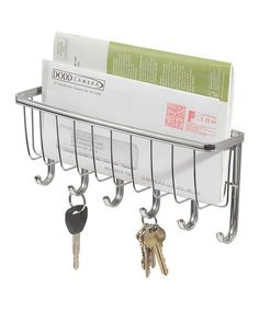 InterDesign York Lyra Wall Mount Mail and Key Rack Holder, Chrome Key And Letter Holder, Mail And Key Holder, Letter Rack, Mail Holder, Key Hook Rack, Key Hooks, Hanger Rack, Wall Hanger, Wall Racks