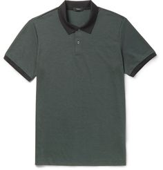 Two-Tone Pima Cotton-Blend Piqué Polo Shirt, Dark Green