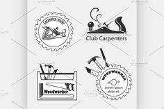 Carpentry works icons flat set