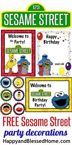 FREE Sesame Street Birthday Part Decorations including signs, toppers and more HappyandBlessedHome.com