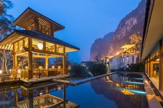 Yangshuo Resort, on the banks of the Yulong River, Guangxi Province, China.