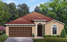 House Plan 50849 | Mediterranean    Plan with 1612 Sq. Ft., 3 Bedrooms, 2 Bathrooms, 2 Car Garage