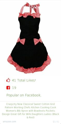 Top christmas gift on Facebook.  Top christmas gift on undefined 41 people likes on Internet. 22 thumbs-up on .undefined crazycity amazon christmas gift. crazycity new classical sweet cotton grid pattern working chefs kitchen cooking cook women's bib apron with bowknots pockets design great gift for wife daughters ladies black and red from amazon christmas gifts…