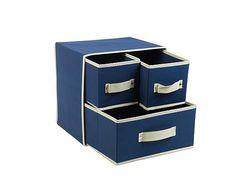 Πτυσσόμενο Υφασμάτινο Κουτί Αποθήκευσης 30x25x30cm με 3 Συρτάρια σε Μπλε-Μπεζ χρώμα, 53870