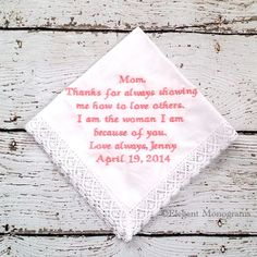 Personalized Embroidered Wedding Hanky for by HeatherStrickland