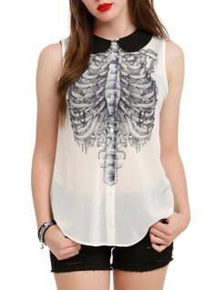 Sheer blouse style top with rib cage design, front button closure and black collar.