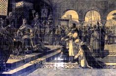 Egas Moniz com a corda ao pescoço e Afonso VII de Leão.