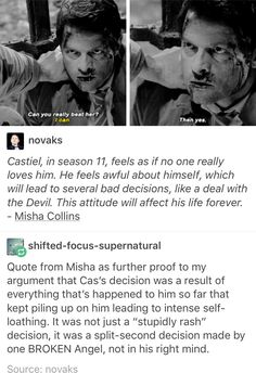 Misha's quote about where Castiel's head was at around 11x10 The Devil in the Details.