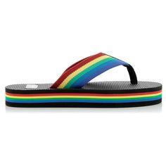 Saint Laurent Flip Flop Rainbow (€244) ❤ liked on Polyvore featuring shoes, sandals, flip flops, canvas sandals, platform flip flops, multicolor shoes, multi color sandals and platform shoes