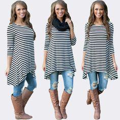 FASHION WOMEN LOOSE STYLE LONG SLEEVE BLACK WHITE LINE CASUAL COTTON LINEN SHIRT AUTUMN ASYMMETRIC LONG DRESS