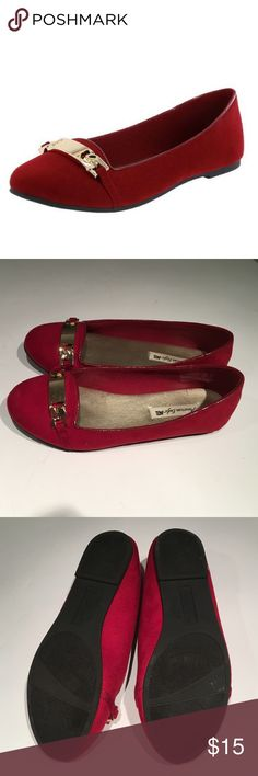 American Eagle Red Flats w/ gold-tone Btacelet American Eagle Round-toe flat shoes in red. With the gold tone bracelet on the top. Faux suede surface, jersey lining. Super comfortable to walk with. American Eagle by Payless Shoes