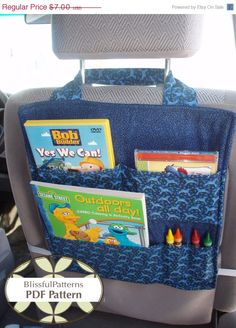 ON SALE Car Seat Organizer - PDF Sewing Pattern - Free shipping -by BlissfulPatterns via Etsy