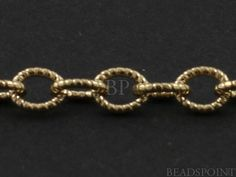 14k Gold Filled Oval Fancy Cable Chain Etched Line by Beadspoint, $11.99