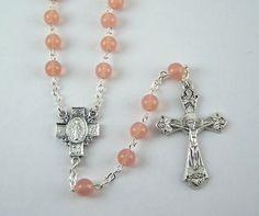 Pink Miraculous Medal Rosary 34 by FaithHopeAndBeads on Etsy