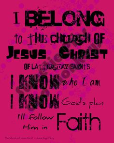 lds printables | LDS Printable artwork - I Belong to the Church of Jesus Christ of LDS ...