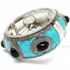 Wendolyn's Wide Black Beaded Turquoise Hinge Bracelet