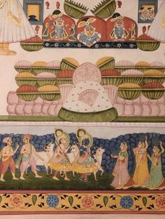 Pichwai Painting on silk with Shrinath Ji and Other Deities
