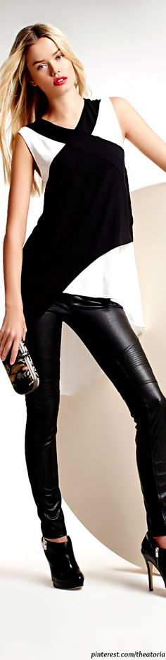 BCBGMAXAZRIA ● Two-Tone Top & Faux-Leather/Ponte Leggings