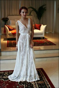 227d27f86e Lace Bridal Nightgown French Lace Wedding Lingerie Bridal Sleepwear  Backless Wedding Sleepwear Bridal Lingerie Ivory Lace Nightgown