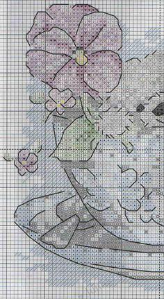 Схема вышивки крестиком - мишка в чашке