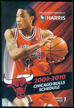 2009 CHICAGO BULLS KIA BASKETBALL POCKET SCHEDULE ROSE COVER FREE SHIPPING #SCHEDULE