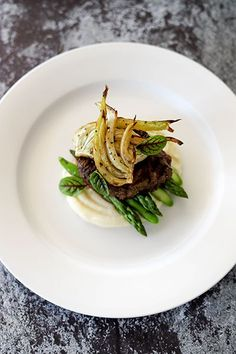 Beef Fillet, Potato Puree, Roasted Fennel, Asparagus, Smoked Garlic & Thyme Butter - Temptation For Food