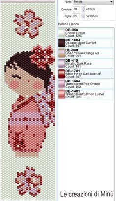 Bead Sakura girl pink peyote pattern and bead colour chart .. 30 x 85 Minù