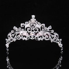 #Priceabate Bridal Princess Austrian Crystal Tiara Wedding Crown Veil Hair Accessory Silver - Buy This Item Now For Only: $7.99