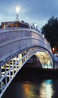 Ha'penny Bridge, Dublin, Ireland. I was able to walk across this! Nice view of the town.