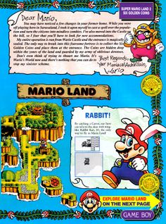 Super Mario Land 2 pre-release feature in Nintendo Power Vol. Super Mario Bros, Super Mario Land, Super Mario Brothers, Video Game Music, New Video Games, Classic Video Games, Mundo Dos Games, Pc Engine, Vintage Games