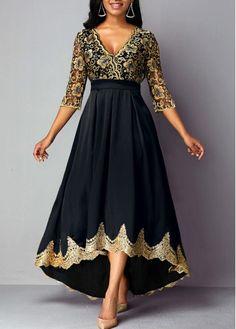 Black Gold Lace Panel Empire Waist Formal Dress Evening Maxi Dress V Neck Lace Panel High Waist Dress Trendy Dresses, Women's Fashion Dresses, Dress Outfits, Casual Dresses, Dresses Dresses, Blue Dresses, Long Dresses, Dresses For Women, Girl Outfits