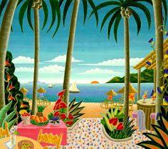 . Thomas Mcknight, Caribbean Decor, 3d Art, Mom Cards, Tropical Art, Naive Art, Portrait, Contemporary Artists, Vintage Art