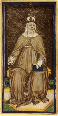 The Popess; The myth of Pope Joan was popular in the Middle Ages and she appears in the Tarot pack; Tarot cards became popular in Medieval Europe