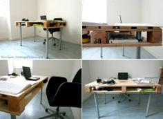 Mesa de escritório feita de pallets :D