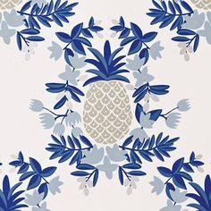 Pineapple Wallpaper - Blue