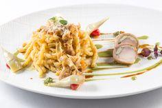 Fusilli al ferretto con genovese di coniglio, carciofi e pecorino | L'Olivo Restaurant - Two Michelin Stars | Anacapri, Italy