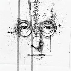 """When I want to move away from photo-centered inspiration, I sometimes look for quotes or song lyrics that resonate with me. In 'Lennon,' I was especially interested in manipulating an image of John Lennon wearing his iconic eyeglasses. I was look for a way to graphically connect what he saw with his eyes (he was nearsighted) with the more far-sighted vision expressed in his song lyrics.""  – Adryane Driscoll"