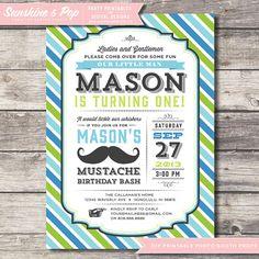 DIY Printable Little Man Invitation Mustache Birthday Printable