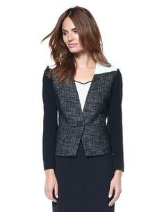 leather details on a suit jacket