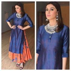Hansika Motwani in silk dress with oxidised Jewellery !
