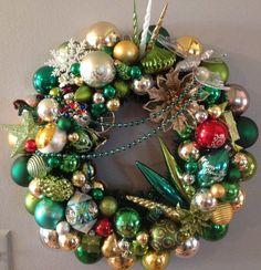 Vintage Christmas ornament wreath. by waywardvisionstudio on Etsy