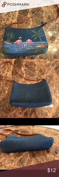 CAPPELLI DENIM FLAMINGO BAG CAPPELLI DENIM FLAMINGO BAG. THIS FUN BAG IS LIKE NEW. FUN BAG NOT A BIG INVESTMENT. MEASURES APPROX 13x7x3 Bags Shoulder Bags