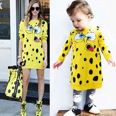 Find More Family Matching Outfits Information about Baby SpongeBob Cotton Crochet Knitted Sweater Dress for Girls Mother Daughter Mom Family Matching Clothing Kids Spring Knitwear,High Quality sweater mens,China sweater outerwear Suppliers, Cheap dress sky from Witness the Growth of Children on Aliexpress.com