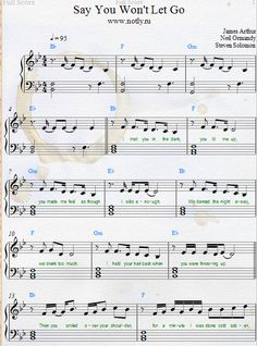 James Arthur — Say You Won't Let Go Download PDF Piano Sheet Music